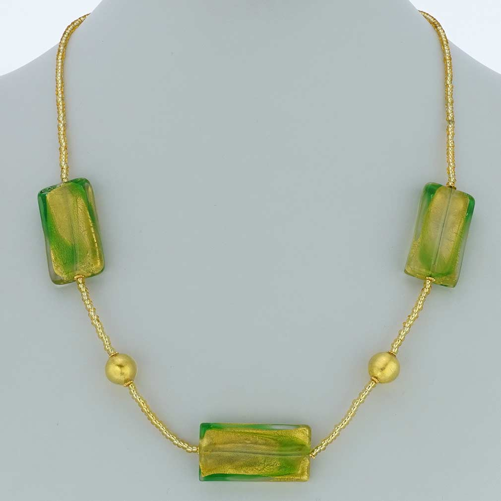 Royal Green Rectangles Necklace