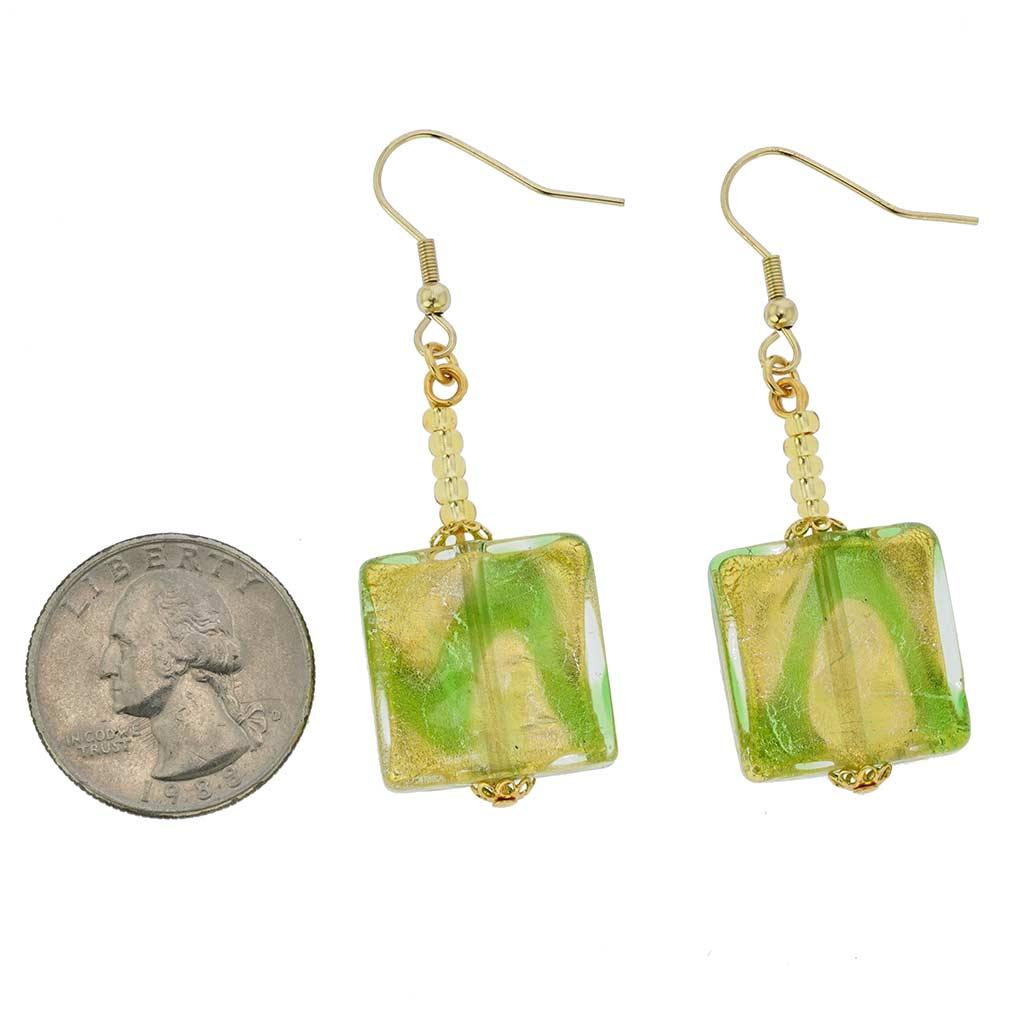 Royal Green Squares Earrings