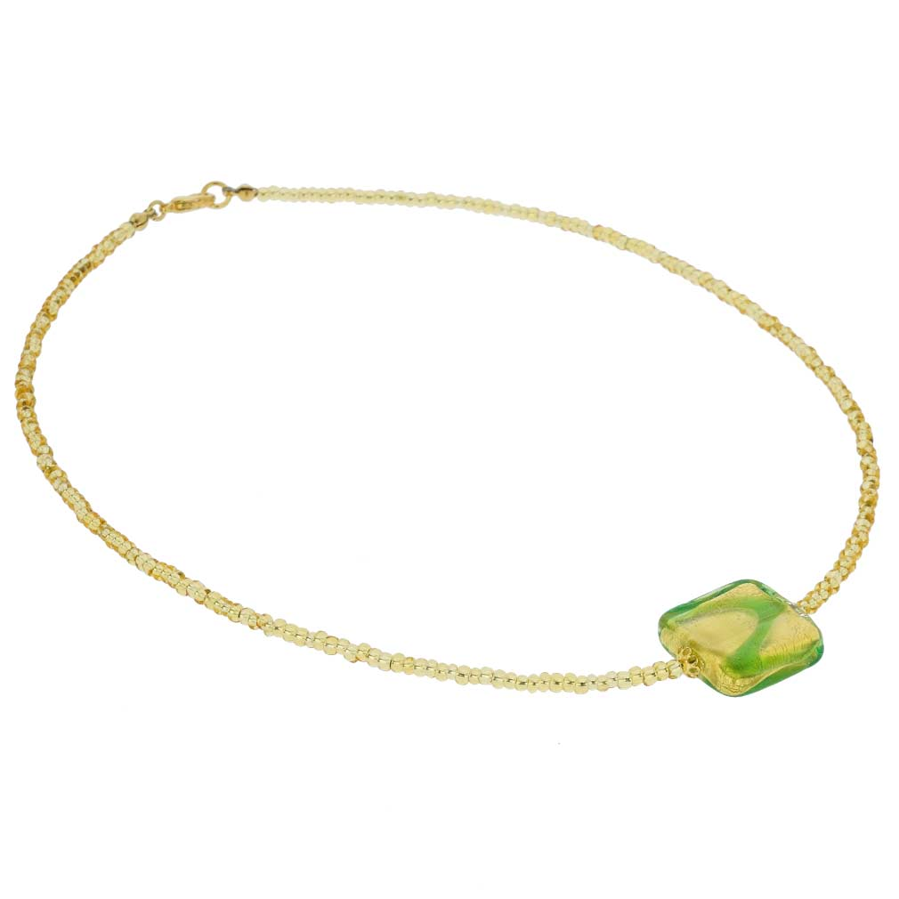 Royal Green Square Necklace