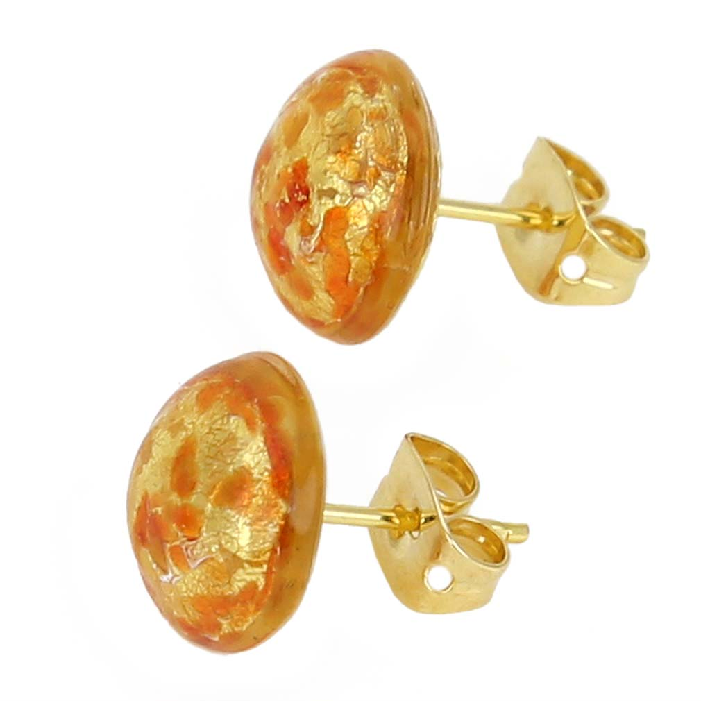 Murano Button Stud Earrings - Red Confetti