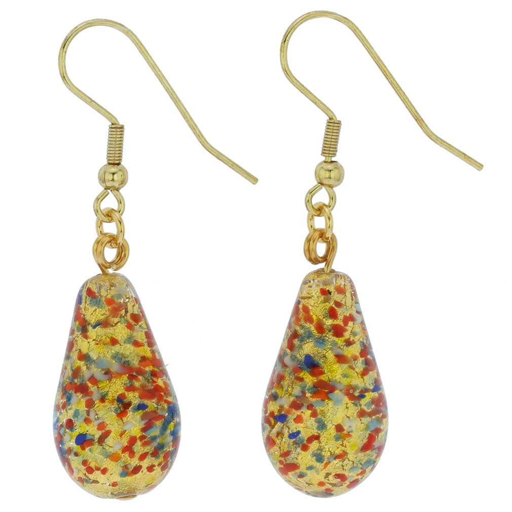 Murano Teardrop Earrings - Multicolor Confetti