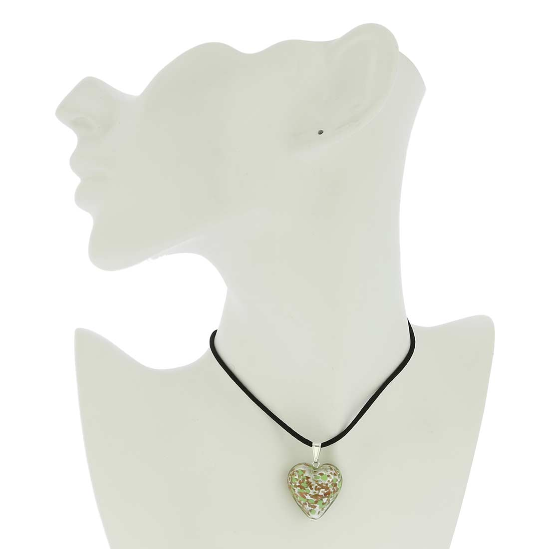 Murano Heart Pendant - Silver Green Confetti