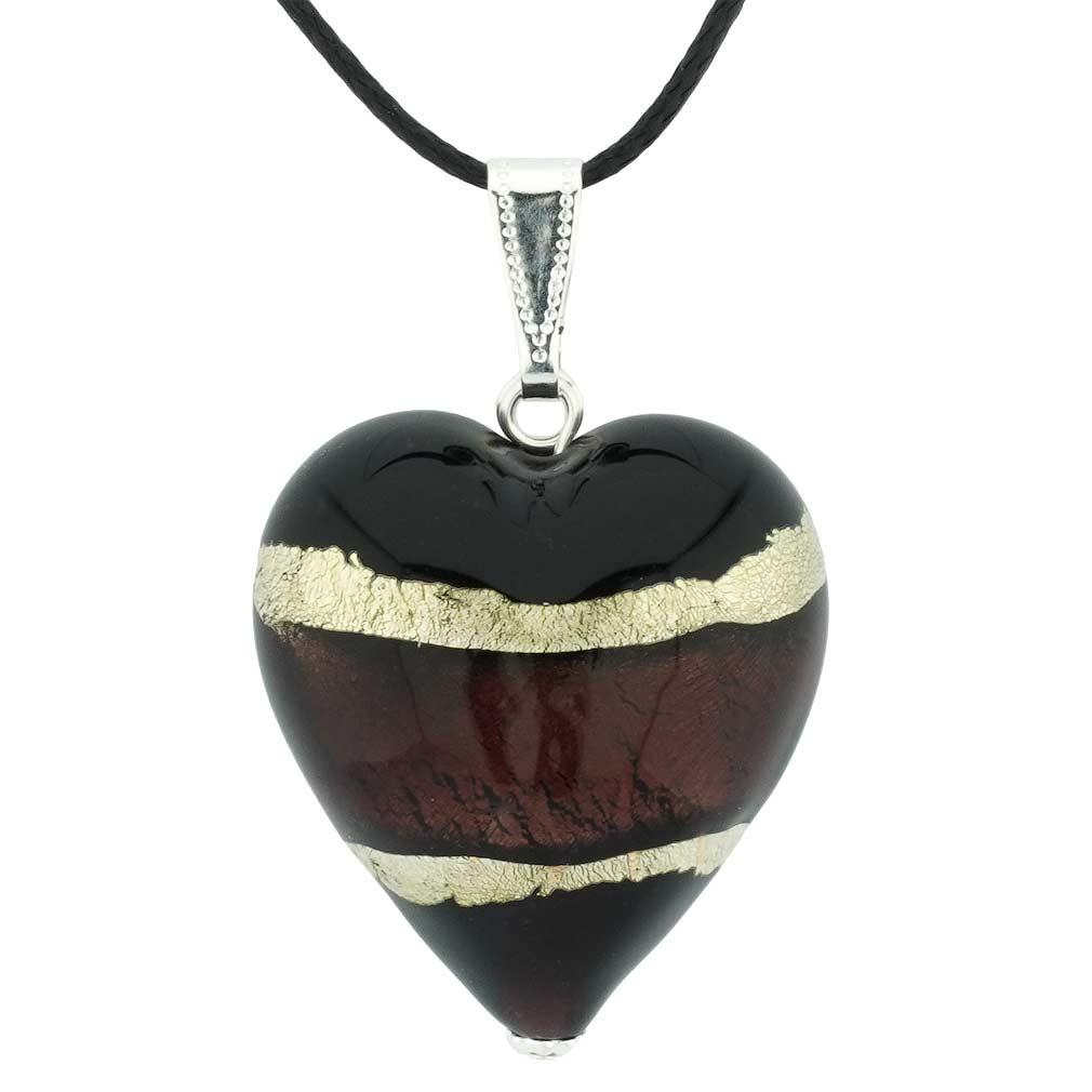Murano Heart Pendant - Purple and Silver