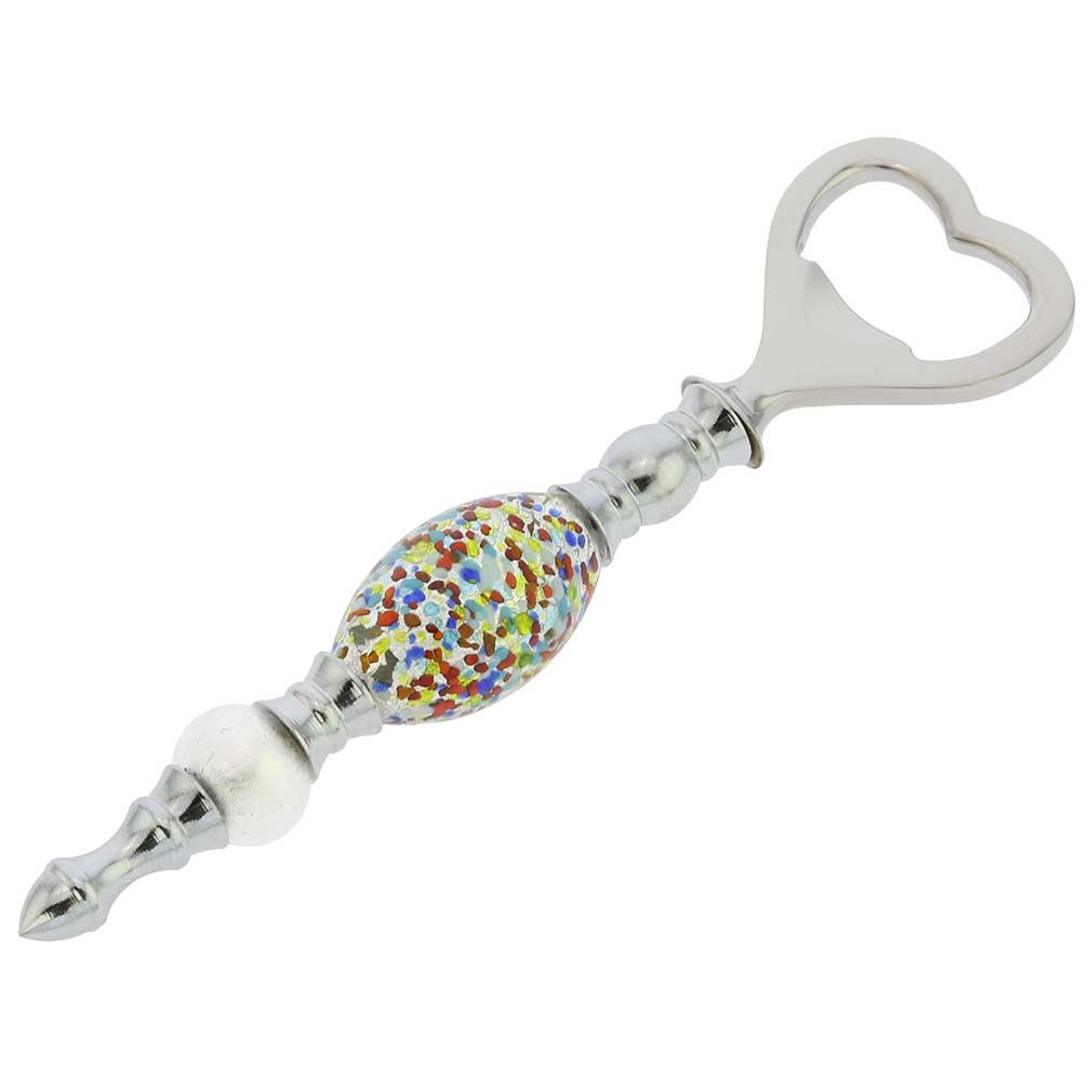 Italian Murano Glass Bottle Opener - Silver White Confetti