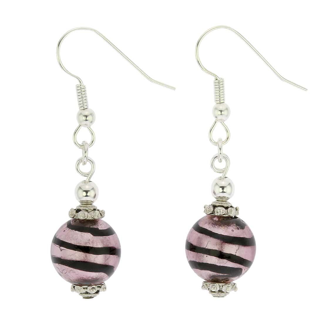 Antico Tesoro Balls Earrings - Striped Silver Purple