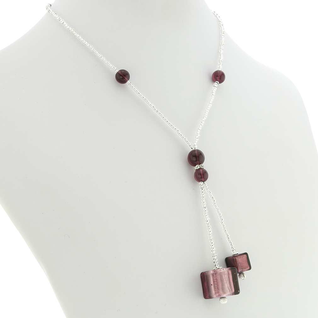 Murano Cubes Tie Necklace - Purple