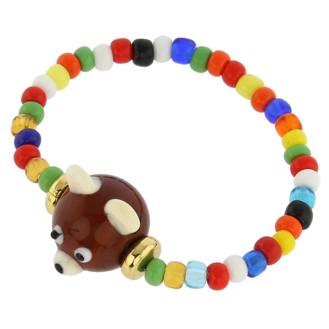 Murano Glass Brown Bear Children\'s Bracelet