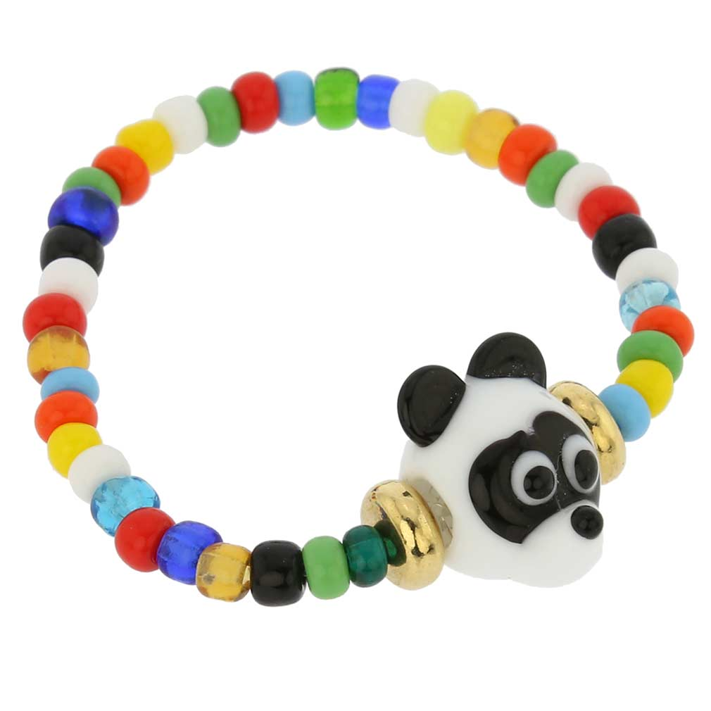 Murano Glass Panda Bear Children\'s Bracelet