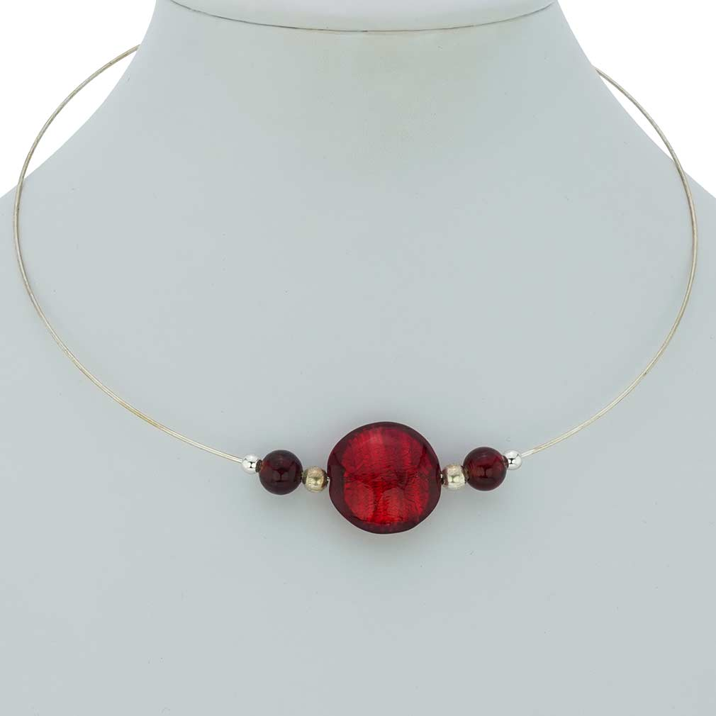 Ruby Red Silver Choker Necklace