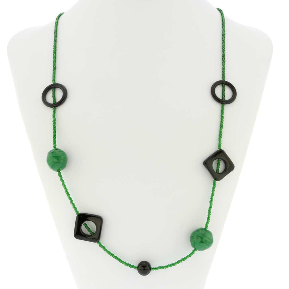 Malachite Treasure Murano Glass Necklace