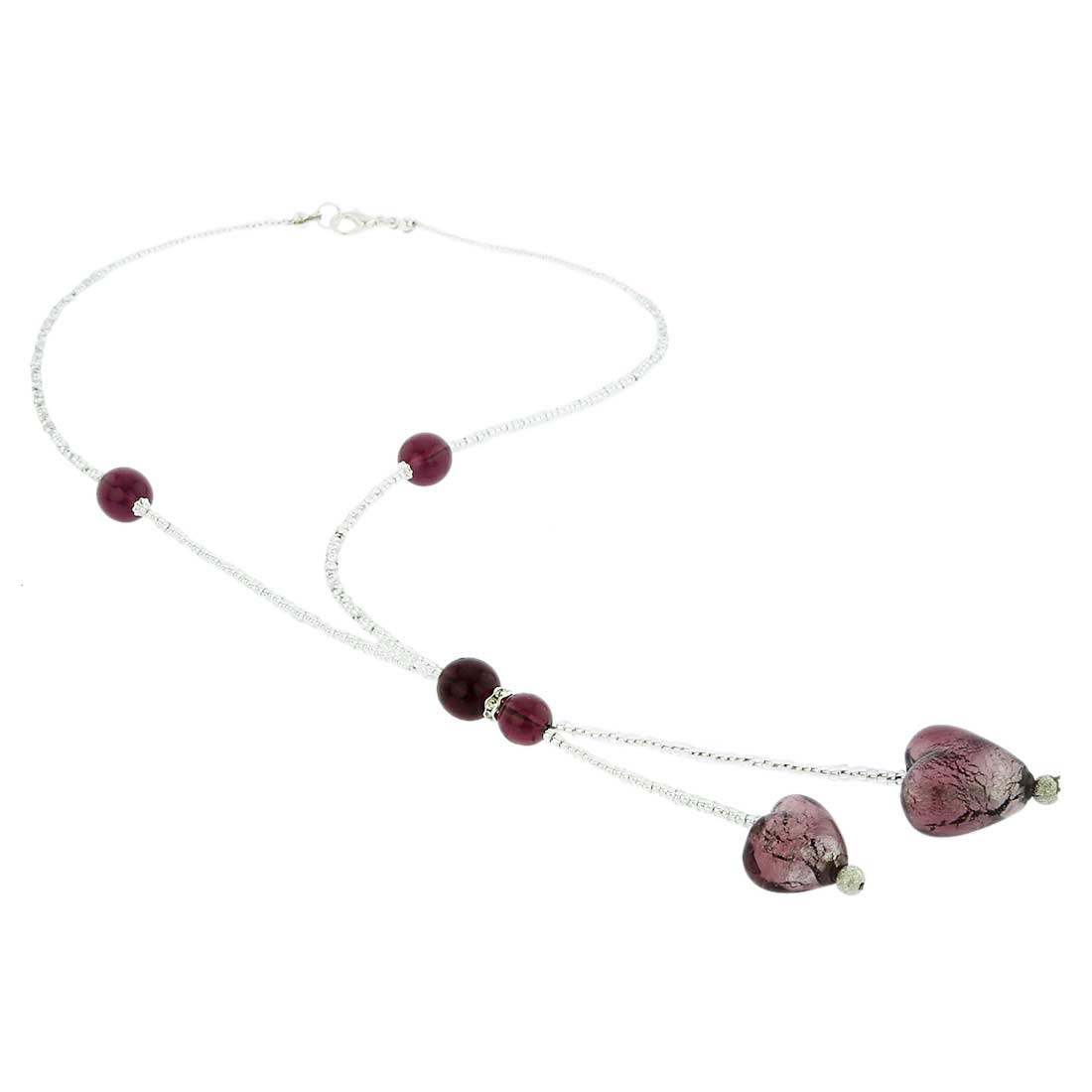 Murano Heart Tie Necklace - Purple