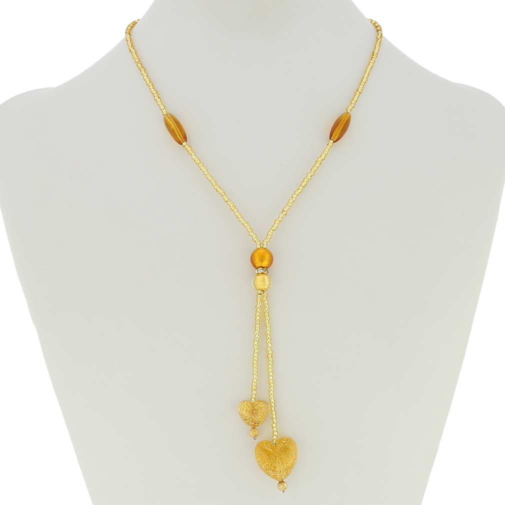Murano Heart Tie Necklace - Cognac and Gold