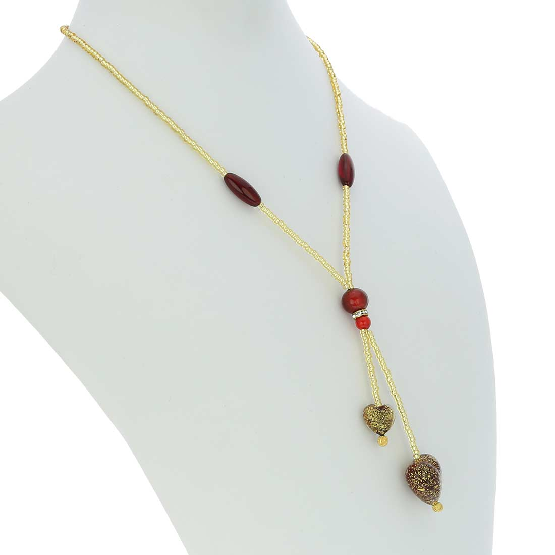 Murano Heart Tie Necklace - Ruby Red and Gold