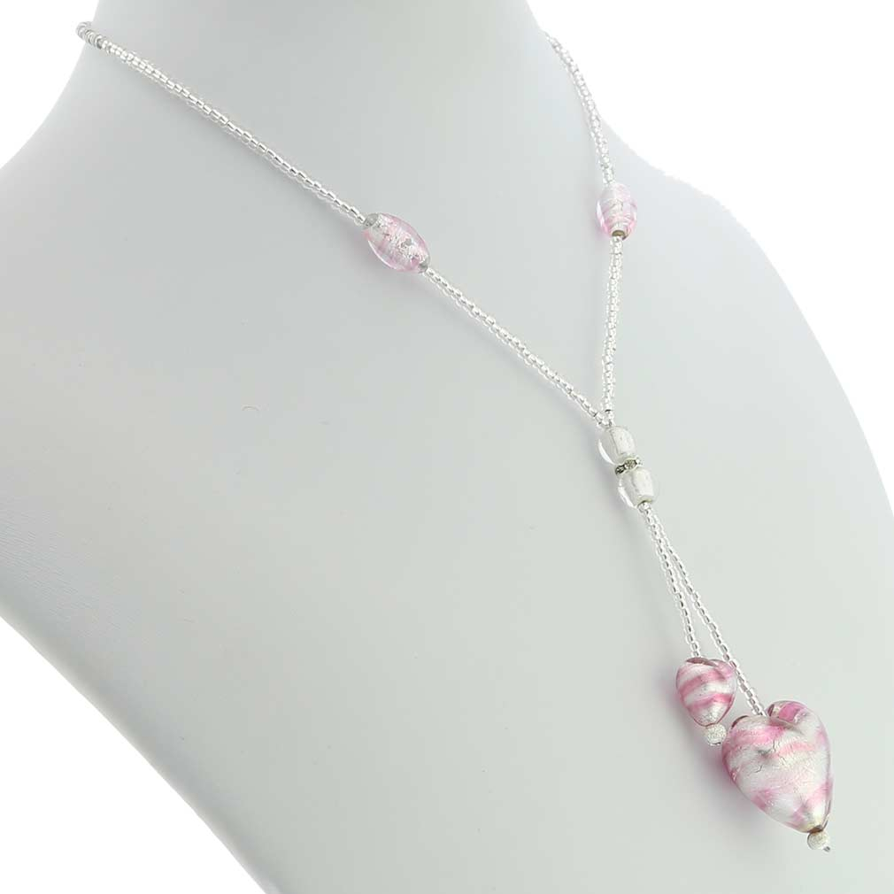 Murano Heart Tie Necklace - Striped Silver Pink
