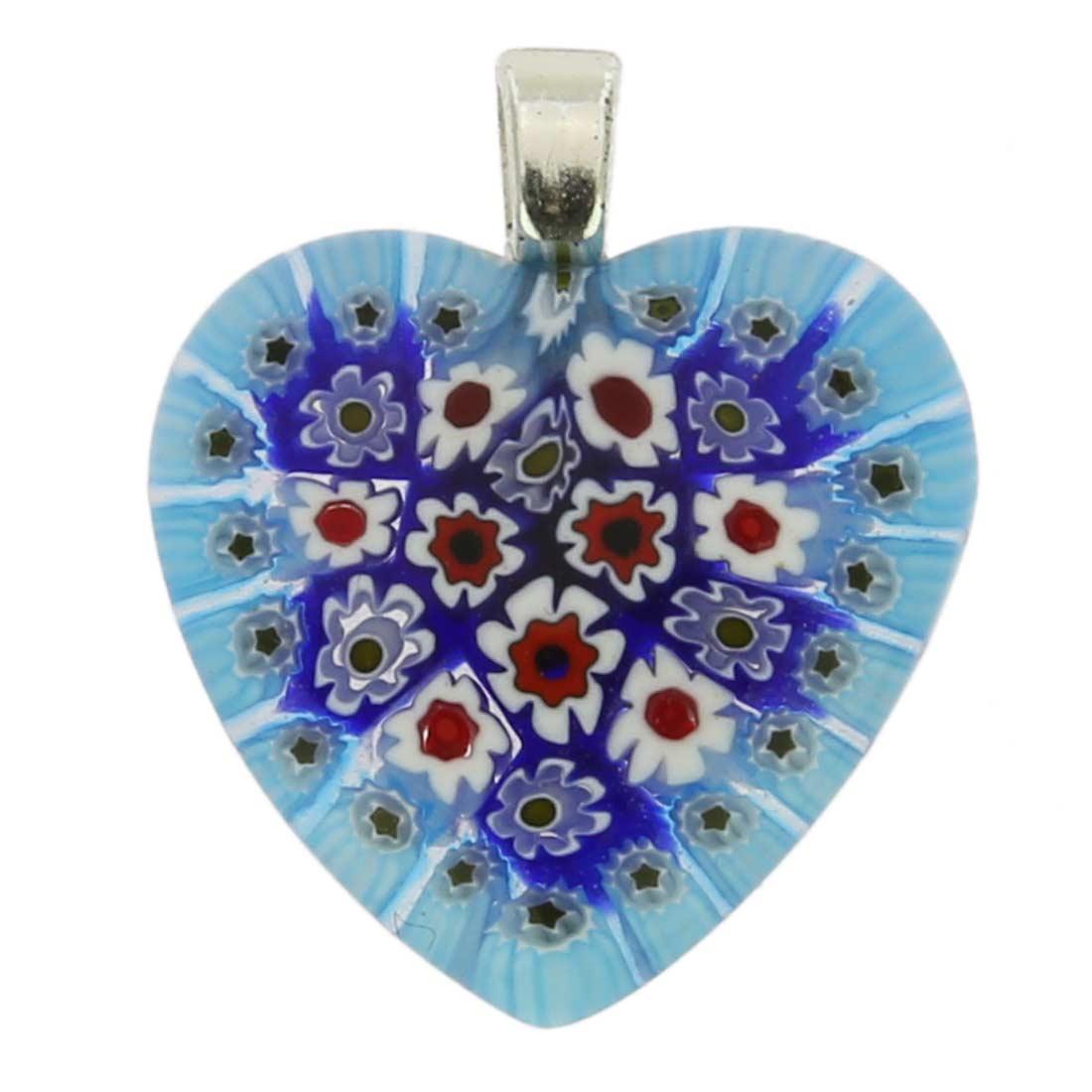 Millefiori Heart Pendant Medium - Sky Blue