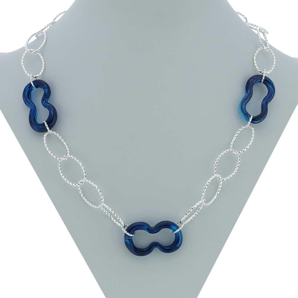Isola Bella Murano Necklace - Silver Blue