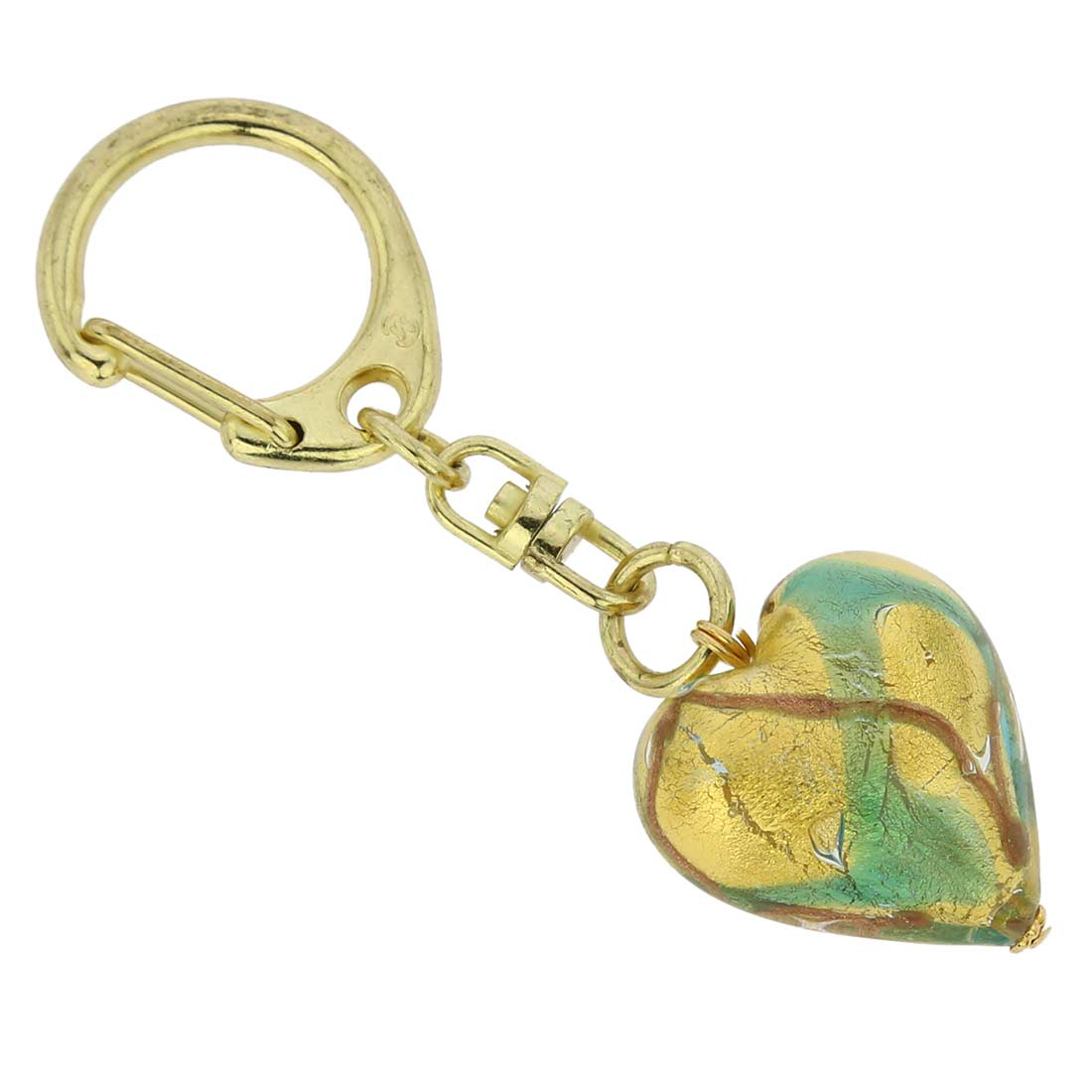 Murano Heart Keychain - Aqua Waves Gold