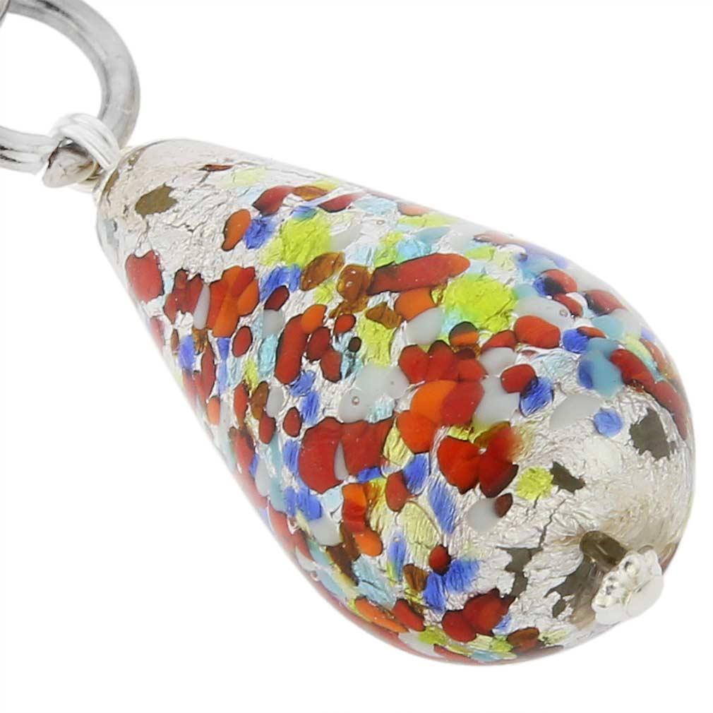Murano Drop Keychain - Arlecchino Silver