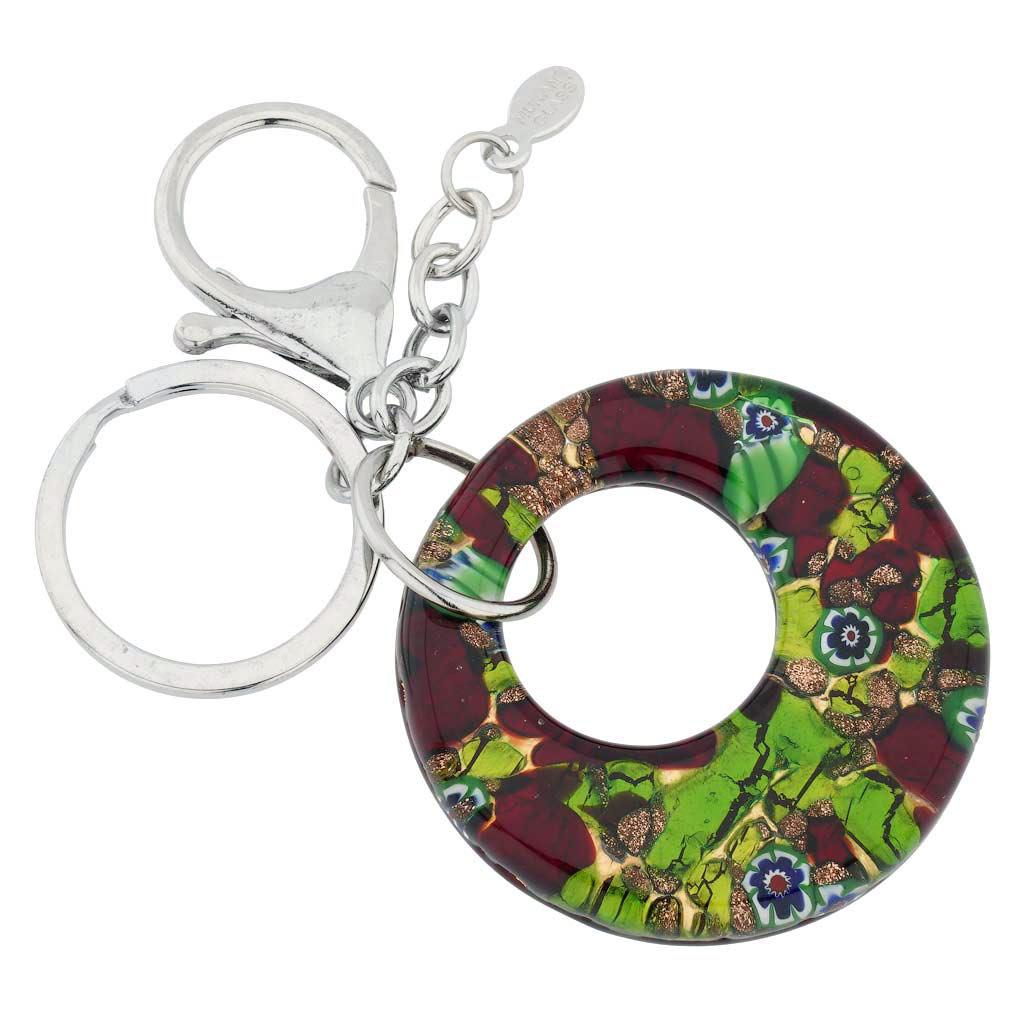 Murano Colors Round Keychain - Burgundy