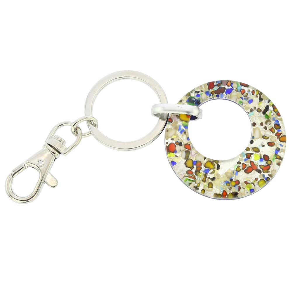 Murano Colors Round Keychain - Silver Confetti