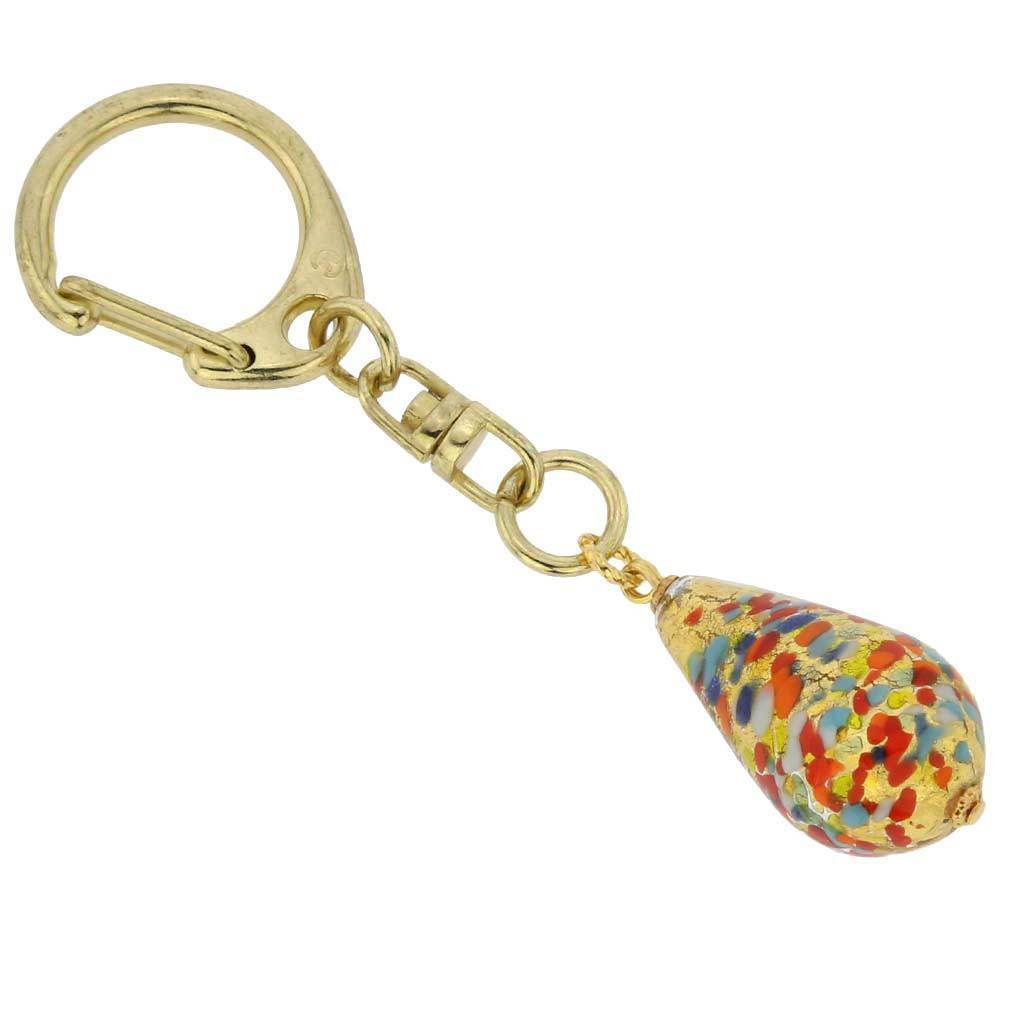 Murano Drop Keychain - Arlecchino Gold