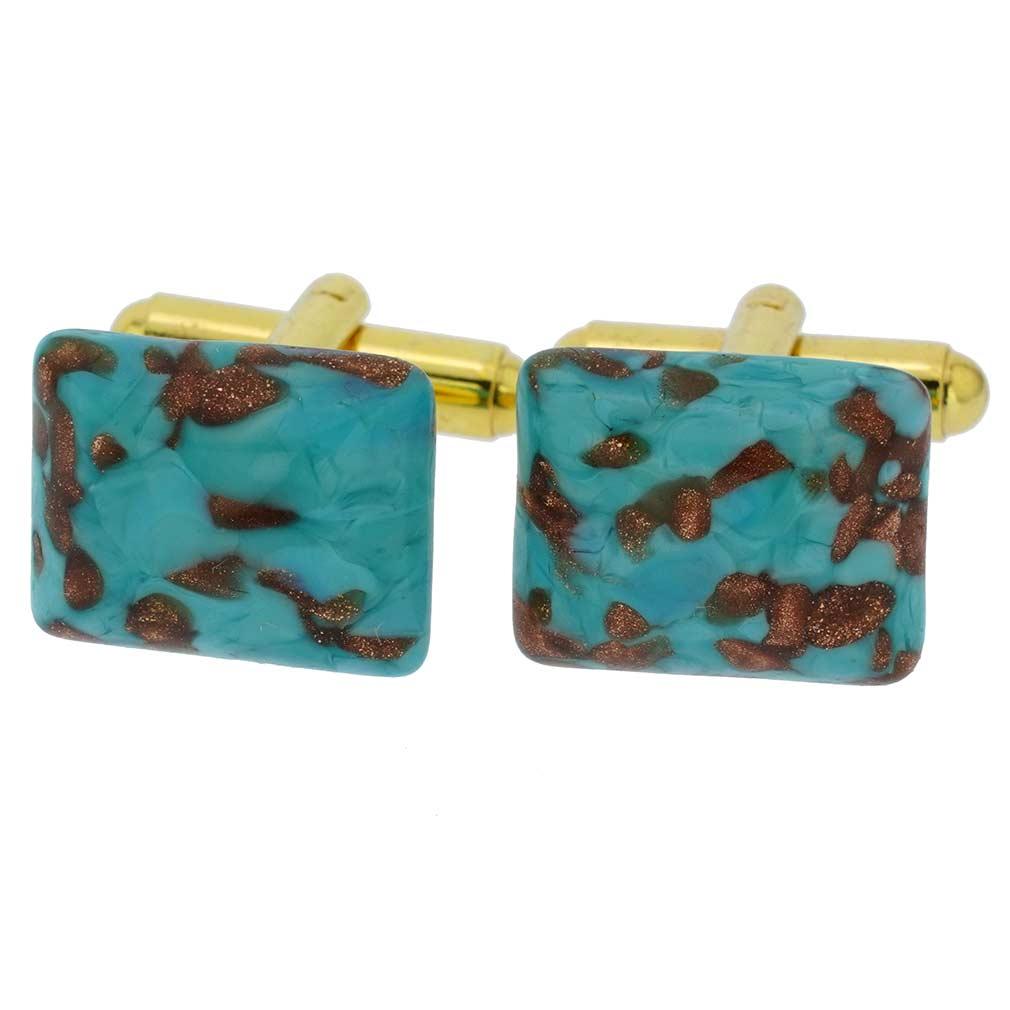 Murano Avventurina Rectangular Cufflinks - Aqua