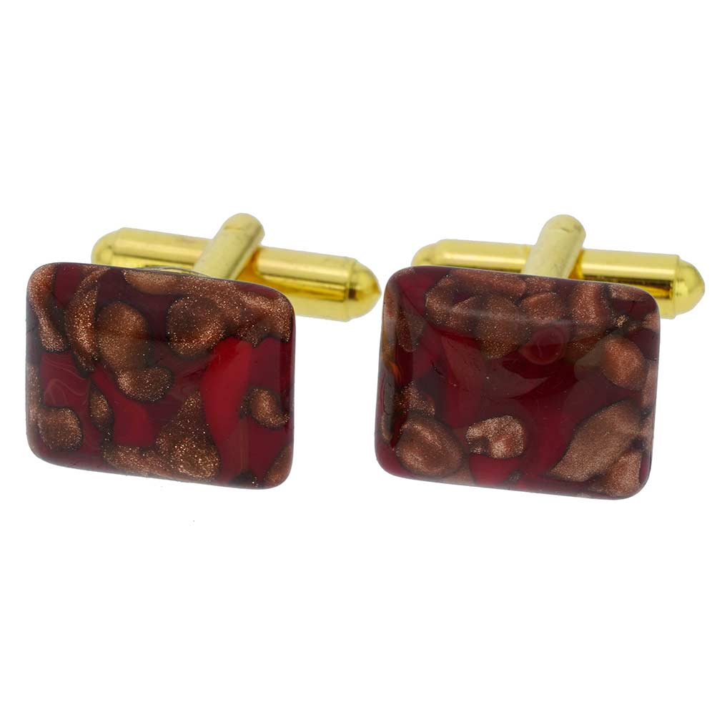 Murano Avventurina Rectangular Cufflinks - Red