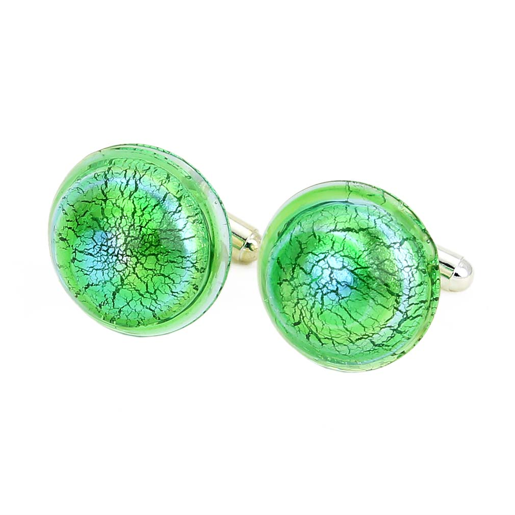 Murano Lights Cufflinks - Silver Green