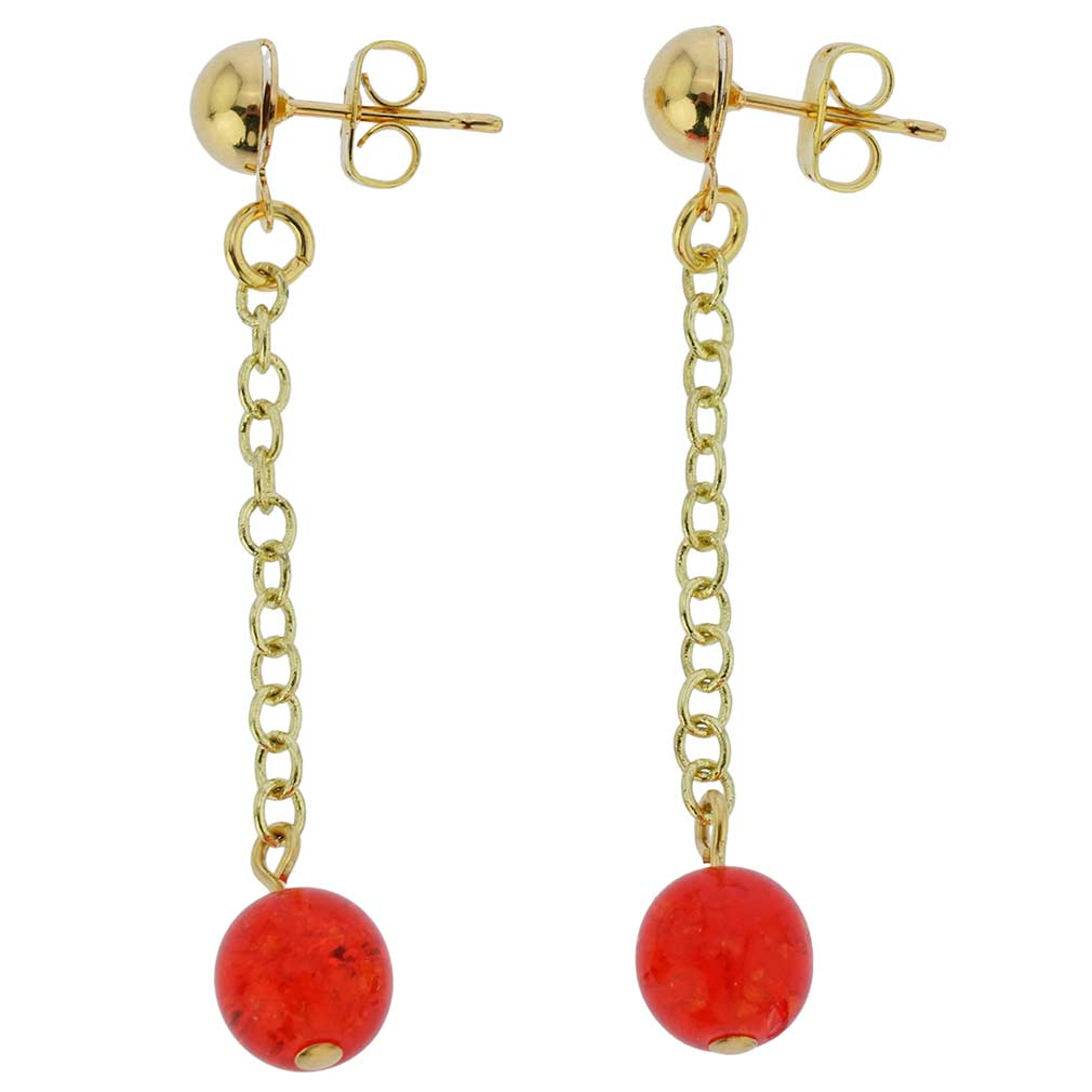 Gold Drops Murano Dangle Earrings - Red