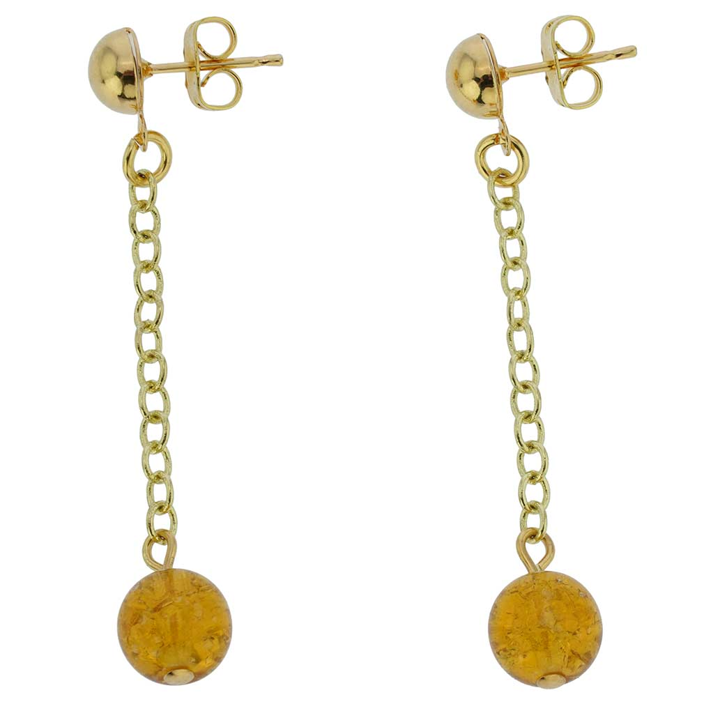 Gold Drops Murano Dangle Earrings