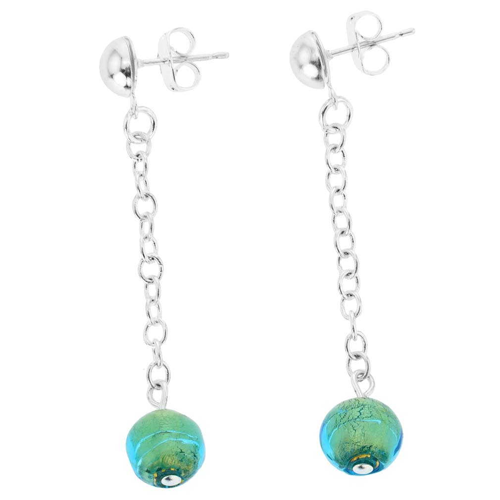 Silver Drops Murano Dangle Earrings - Aqua Green