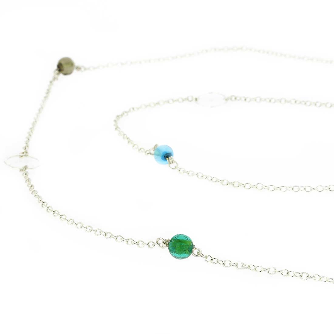 Silver Drops Murano Necklace