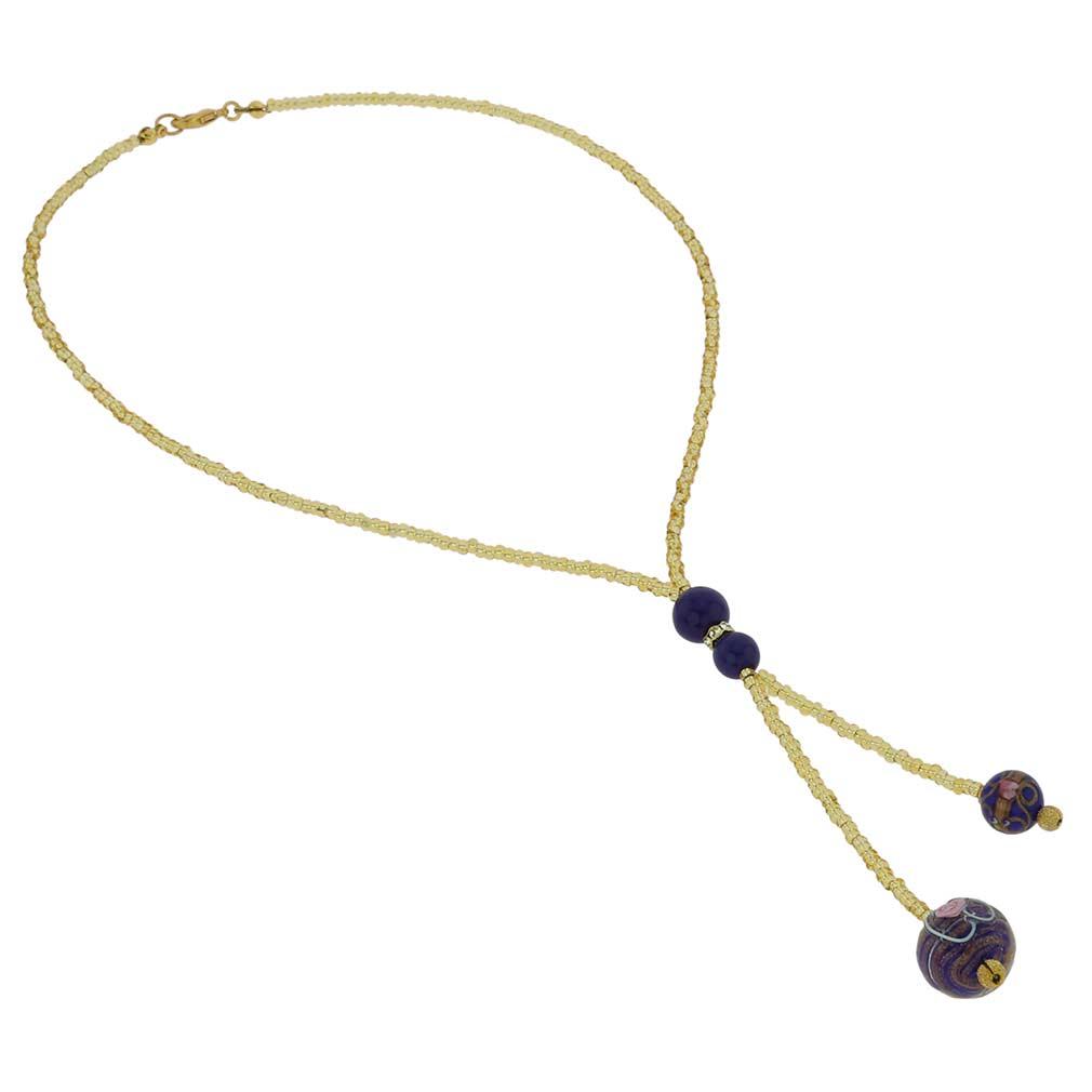 Murano Fiorato Ball Tie Necklace - Cobalt Blue
