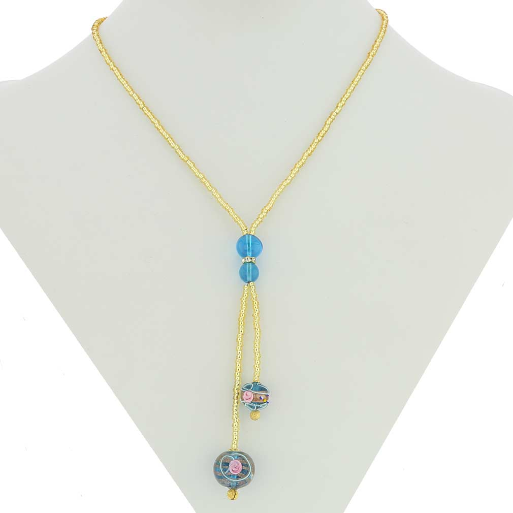 Murano Fiorato Ball Tie Necklace - Sky Blue