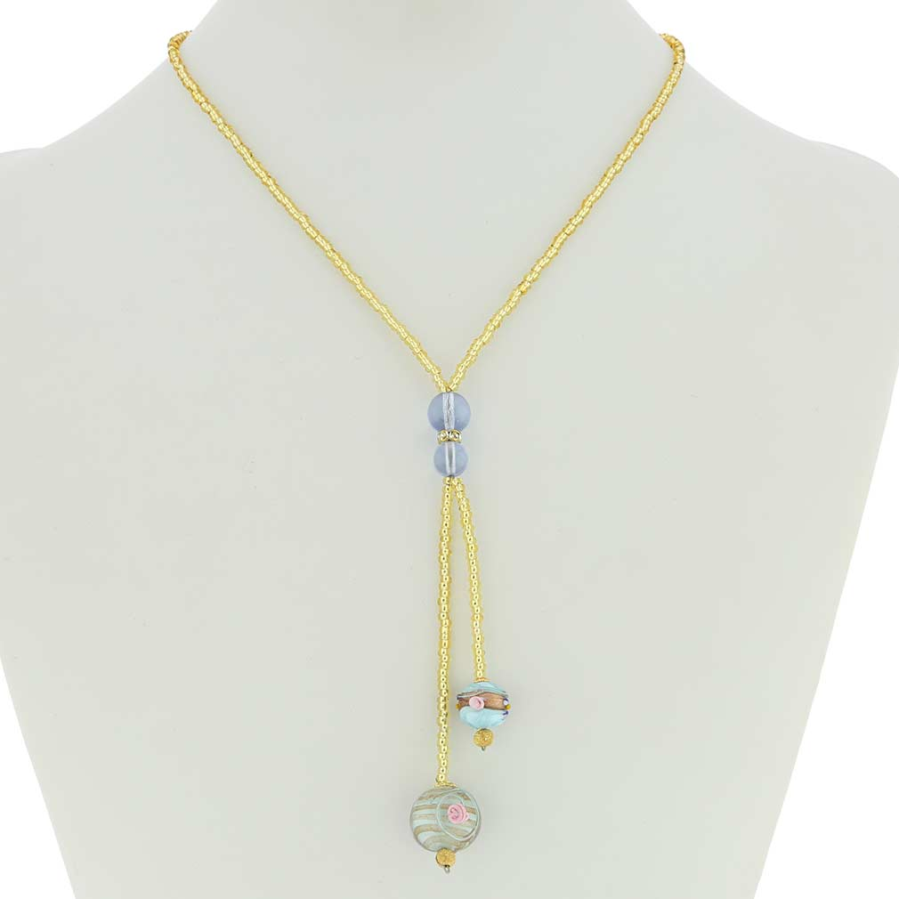 Murano Fiorato Ball Tie Necklace - Aqua