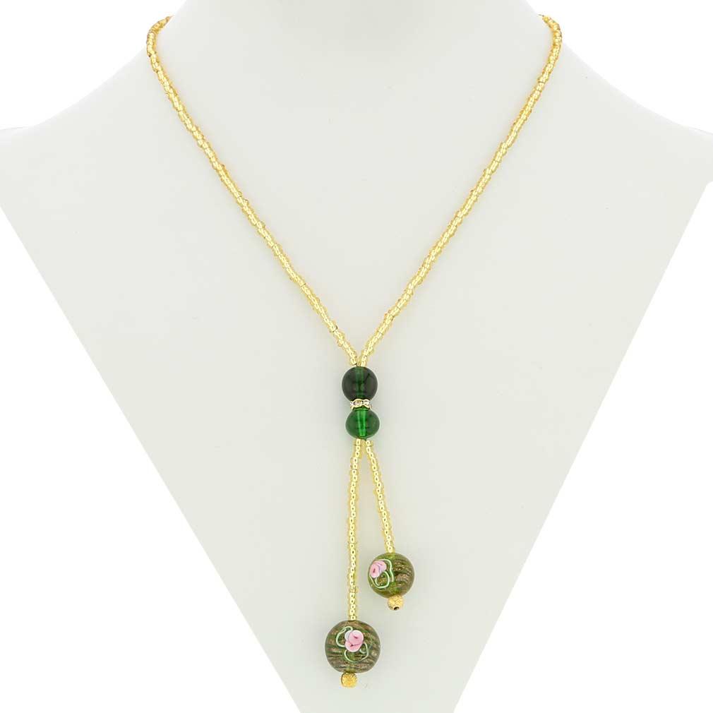 Murano Fiorato Ball Tie Necklace - Green