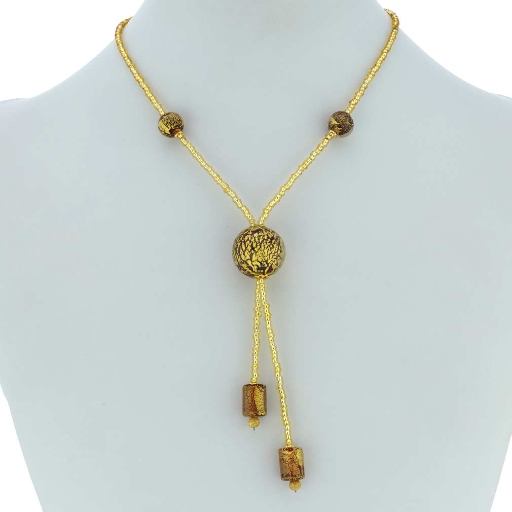 Murano Ball Tie Necklace - Red and Gold