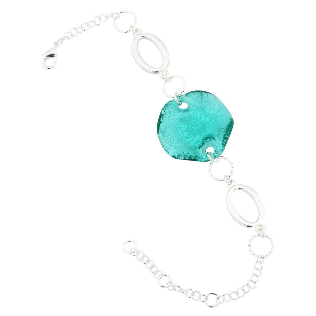 Volano Murano Glass Bracelet - Aqua Blue