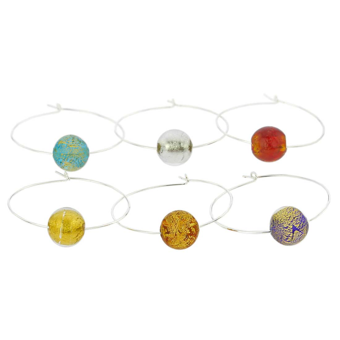 Murano Glass Ca D`Oro Wine Glass Charms Set Of 6