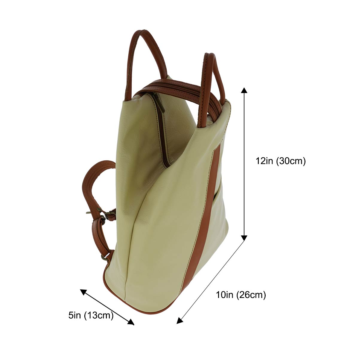 Fioretta Italian Genuine Leather Top Handle Backpack Purse Shoulder Bag Handbag Rucksack For Women - Beige Brown