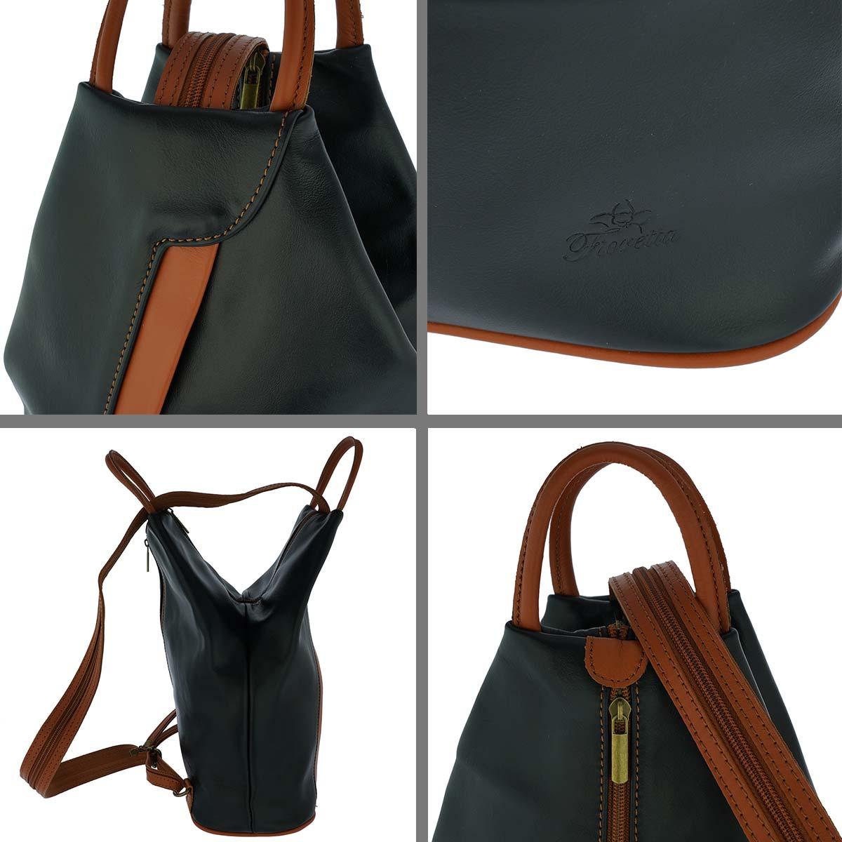 Fioretta Italian Genuine Leather Top Handle Backpack Purse Shoulder Bag Handbag Rucksack For Women - Black Brown