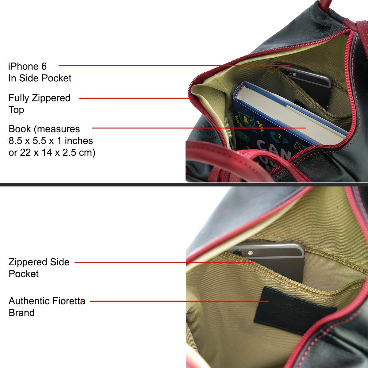 Fioretta Italian Genuine Leather Top Handle Backpack Purse Shoulder Bag Handbag Rucksack For Women - Black Red