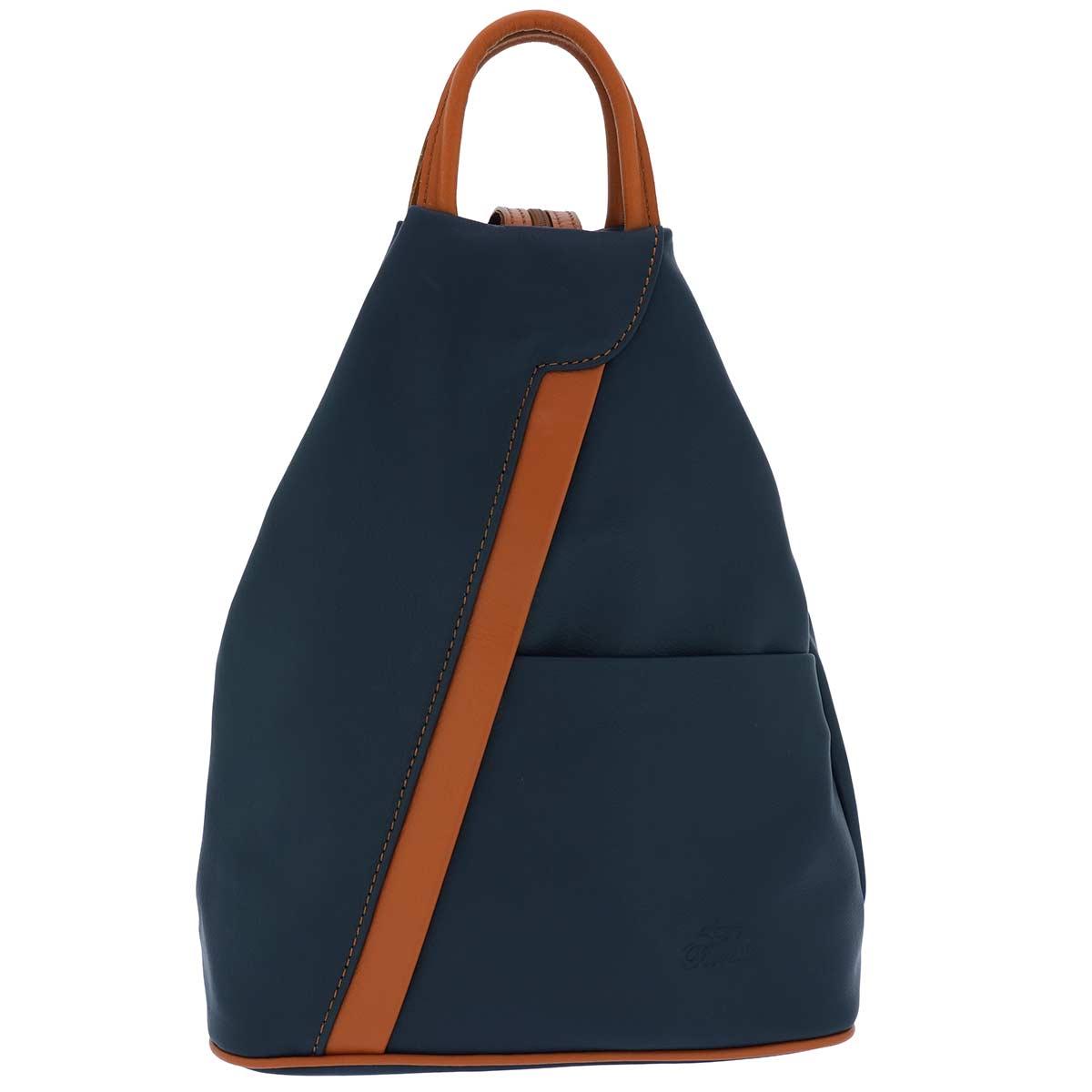 Fioretta Italian Genuine Leather Top Handle Backpack Purse Shoulder Bag Handbag Rucksack For Women - Blue Brown