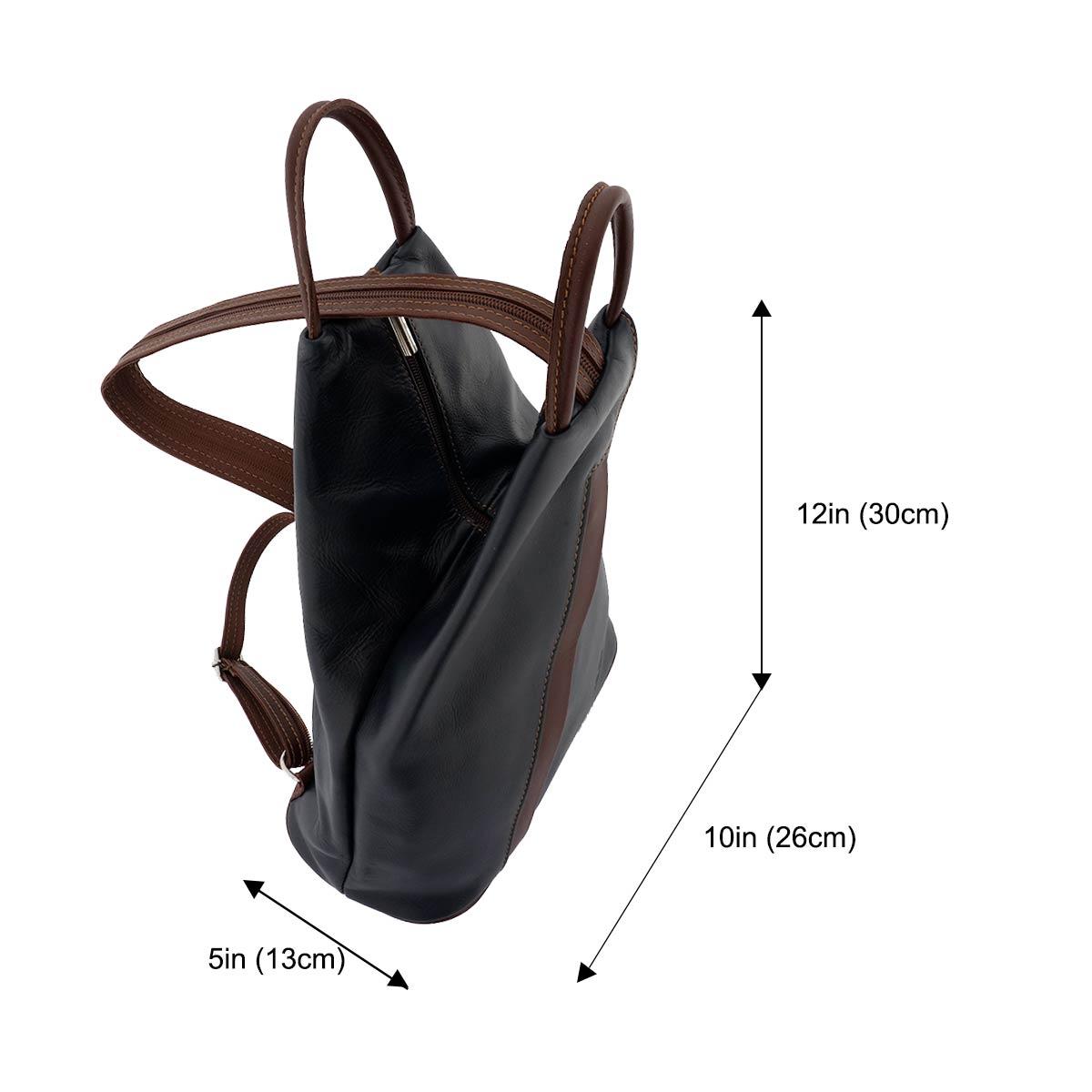 Fioretta Italian Genuine Leather Top Handle Backpack Purse Shoulder Bag Handbag Rucksack For Women - Dark Blue Brown