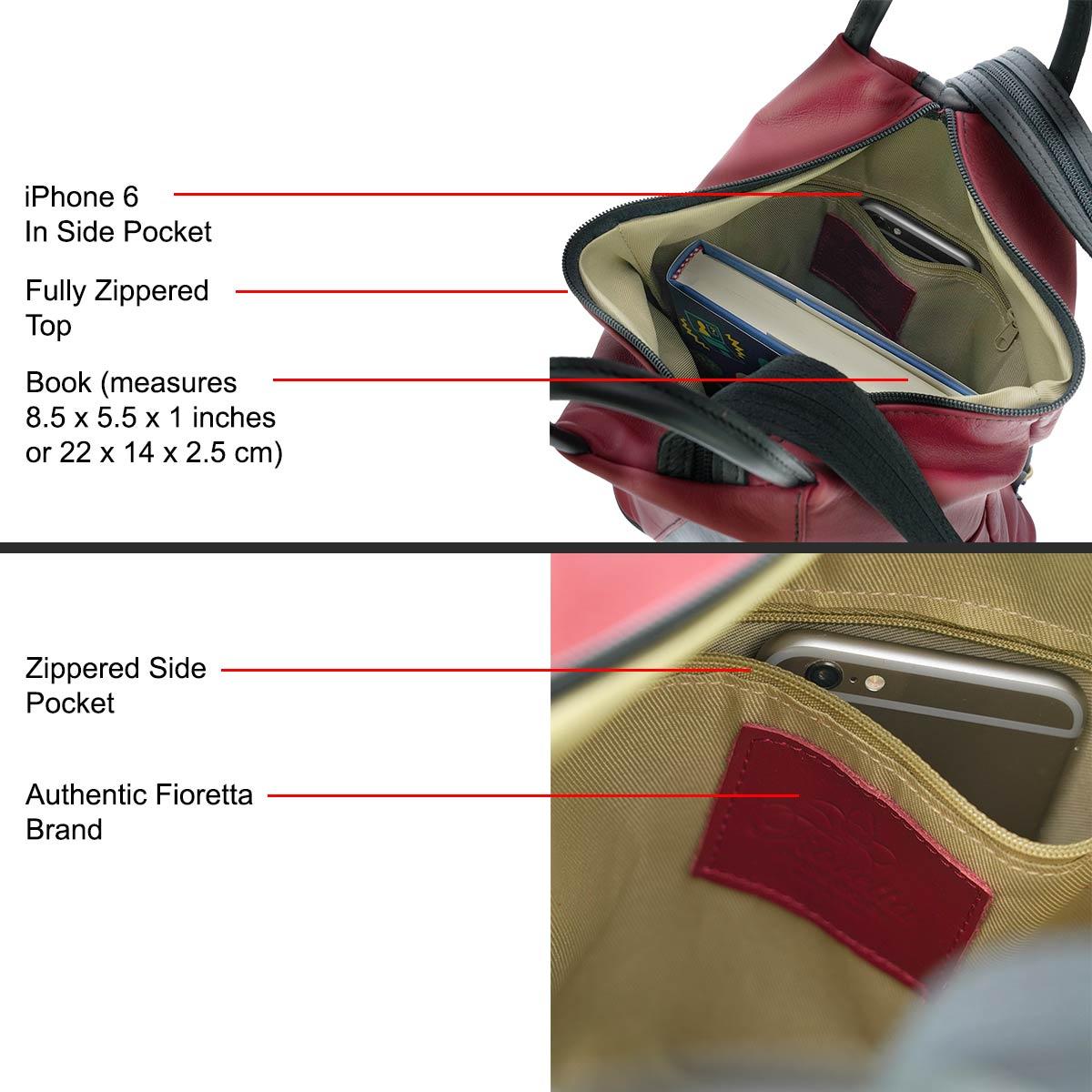 Fioretta Italian Genuine Leather Top Handle Backpack Purse Shoulder Bag Handbag Rucksack For Women - Red Black