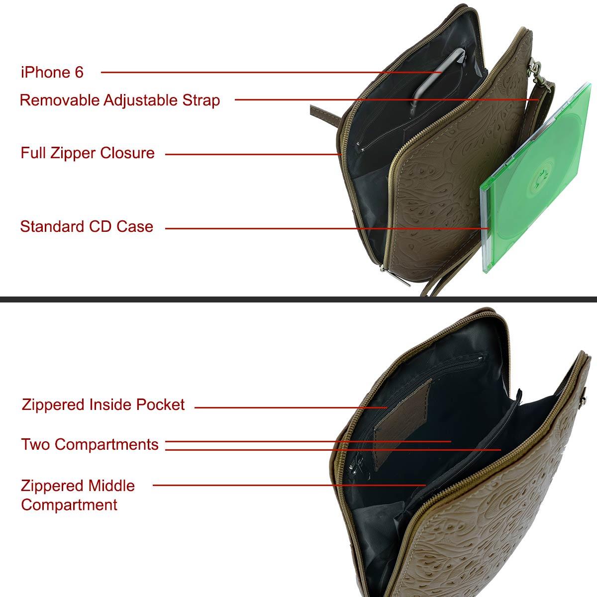 Fioretta Italian Embossed Genuine Leather Crossbody Shoulder Bag Clutch Handbag For Women - Beige