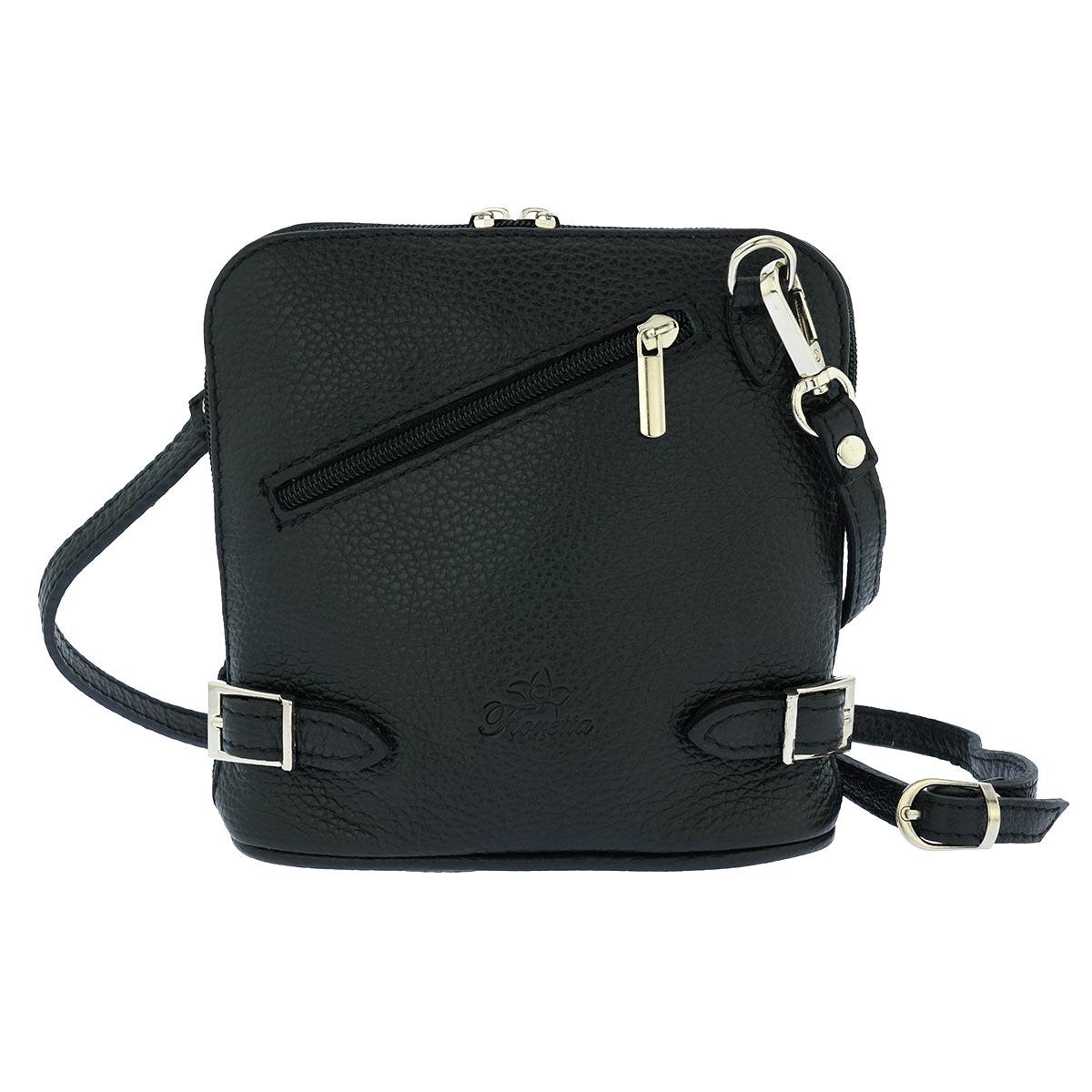 Fioretta Italian Genuine Leather Crossbody Bag Clutch Handbag For Women - Black