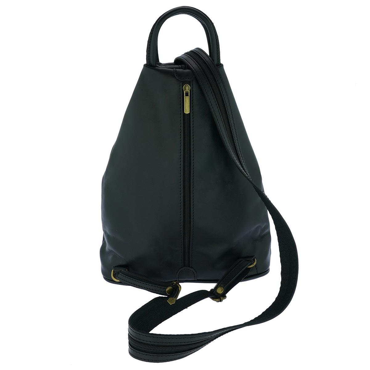 Fioretta Italian Genuine Leather Top Handle Backpack Purse Shoulder Bag Handbag Rucksack For Women - Black