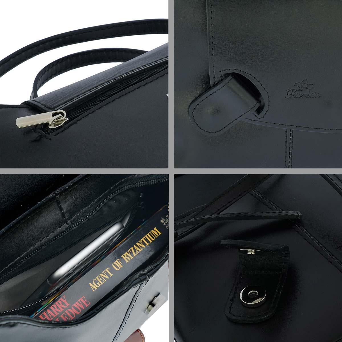 Fioretta Italian Genuine Leather Crossbody Shoulder Bag Handbag For Women - Black