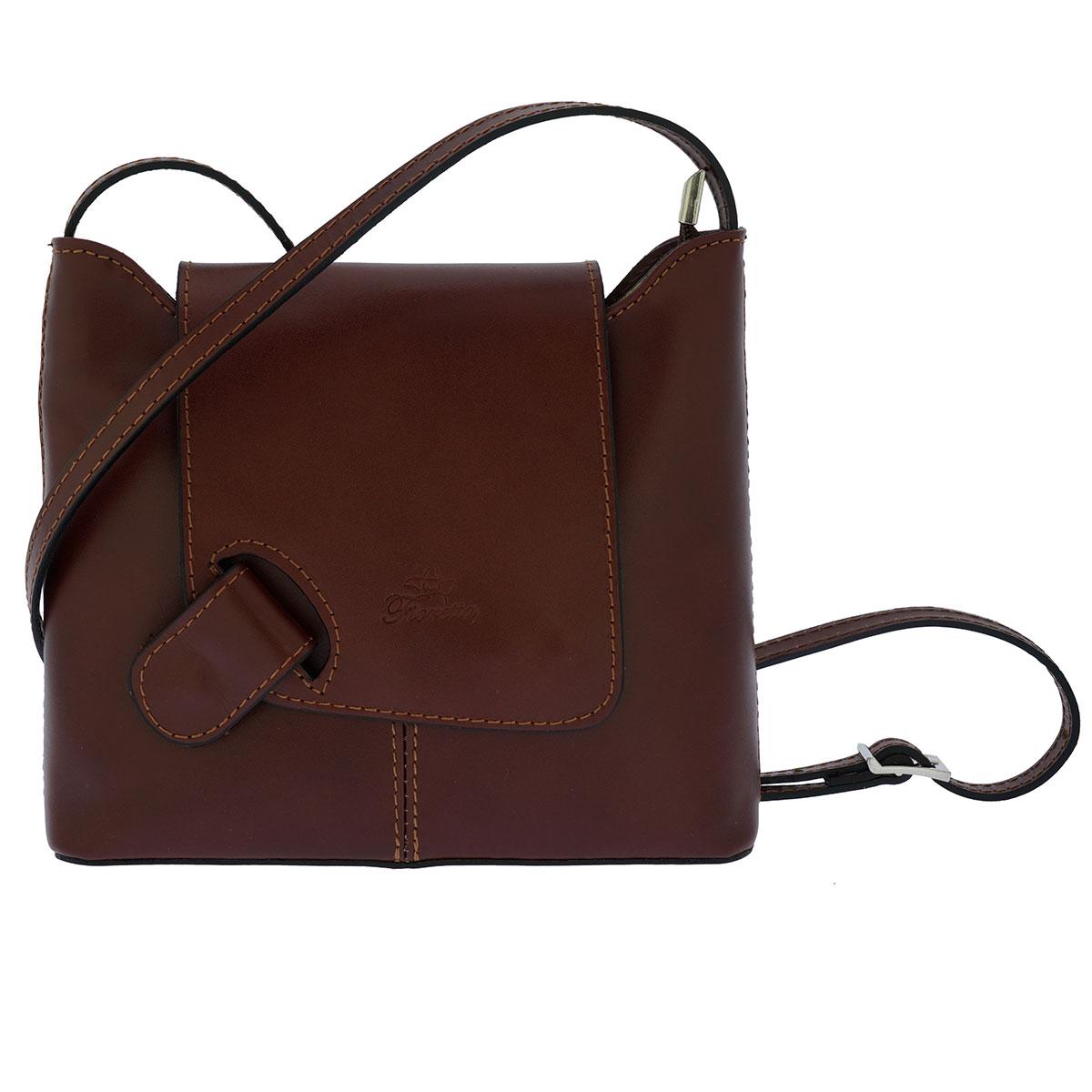 Fioretta Italian Genuine Leather Crossbody Shoulder Bag Handbag For Women - Brown